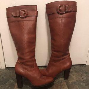 Banana Republic Tall Cognac Leather Heel Boots